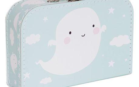 A Little Lovely Company Dětský kufřík Ghost, modrá barva, zelená barva, papír