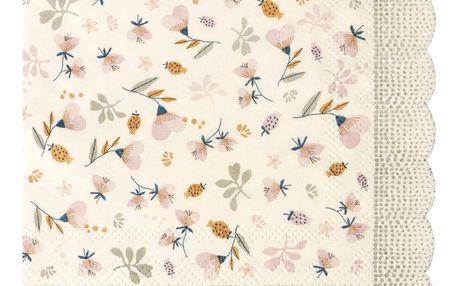 Maileg Papírové ubrousky Violet Powder 12,5x12,5 cm, růžová barva, bílá barva, papír