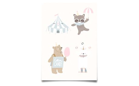 EEF lillemor Pohlednice Circus Animals, multi barva, papír