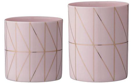 Bloomingville Porcelánový svícen na čajovou svíčku Rose&Gold Větší, růžová barva, zlatá barva, porcelán