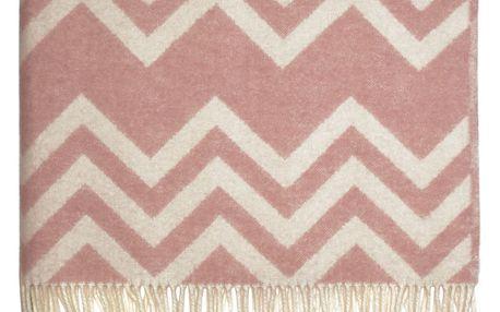 GREEN GATE Vlněná deka Ziggy pale pink 130x180 cm, růžová barva, textil