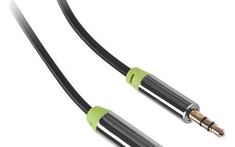 Kabel GoGEN Jack 3,5mm, 5m, prodlužovací, pozlacené konektory černý (GOGJACK500FM01)