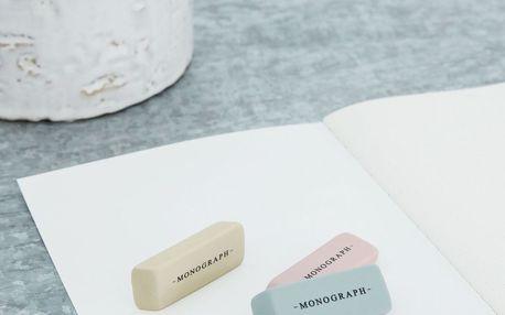 MONOGRAPH Mazací guma Monograph - 3 ks, růžová barva, žlutá barva, šedá barva, multi barva