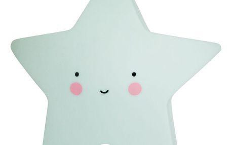 A Little Lovely Company Noční LED lampička Mint star, zelená barva, plast