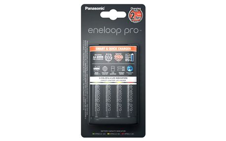 Nabíječka Panasonic Eneloop Smart-Quick Charger pro AA,AAA + 4x Panasonic Eneloop Pro 2500mAh černá (K-KJ55HCD40E)