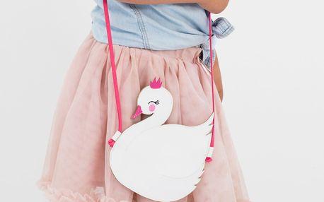 A Little Lovely Company Dětská kabelka Little Swan, růžová barva, bílá barva, textil