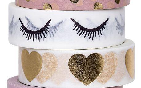 Bloomingville Designová samolepící páska Girls Text, růžová barva, bílá barva, zlatá barva, papír