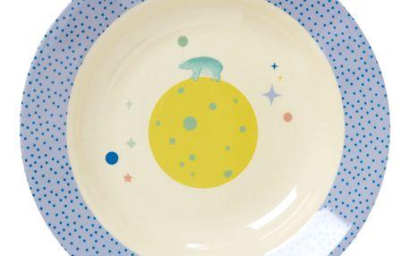 rice Dětská melaminová miska Universe blue, modrá barva, bílá barva, melamin