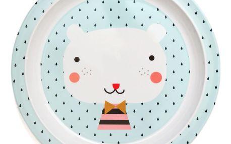 PETIT MONKEY Modrý melaminový talíř Bear - světle modrý, modrá barva, melamin