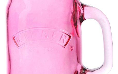 KILNER Sklenice s uchem Pink 400 ml, růžová barva, sklo