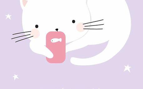 A Little Lovely Company Pohlednice Texting Cat, fialová barva, papír