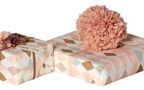 Maileg Balicí papír Harlekin Rose - 10 m, růžová barva, krémová barva, papír