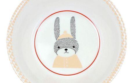 Bloomingville Melaminová dětská miska Sophia Rabbit, oranžová barva, bílá barva, melamin