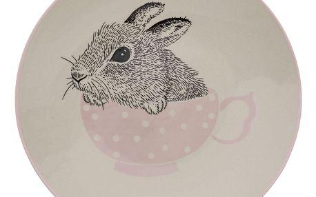 Bloomingville Keramický talířek Baby Bunny Nude, růžová barva, krémová barva, keramika