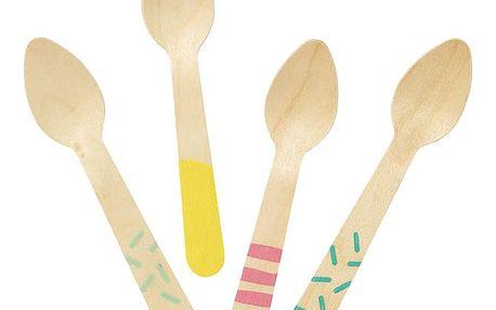 Talking Tables Dřevěné lžičky na zmrzlinu We Love Ice Cream / set 24 ks, multi barva, dřevo