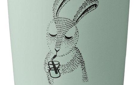 Bloomingville Dětský keramický kalíšek Marius Rabbit, zelená barva, keramika