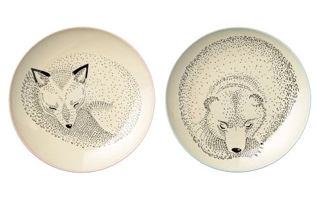 Bloomingville Keramický talíř Adelynn Animals - 2 druhy Medvěd, béžová barva, multi barva, keramika