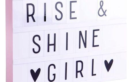 A Little Lovely Company Svítící box s nápisy Lightbox Pink A4, růžová barva, plast