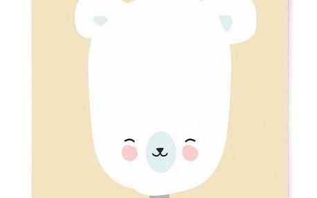 EEF lillemor Plakát do dětského pokojíčku Polar Bear A3, žlutá barva, papír