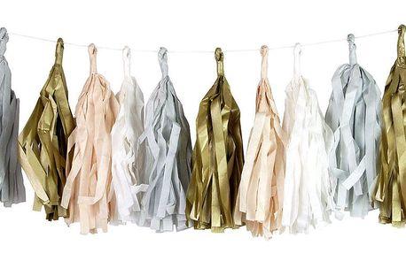 Talking Tables Papírová girlanda se střapci Powder, oranžová barva, bílá barva, zlatá barva, papír
