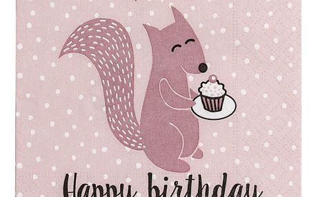 Bloomingville Papírové ubrousky Happy Birthday Rose - menší, růžová barva, papír