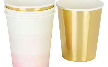 Talking Tables Papírové kelímky We Love Pink - set 12 ks, růžová barva, zlatá barva, papír