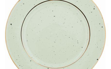 GREEN GATE Dezertní talíř Pale green, zelená barva, zlatá barva, keramika