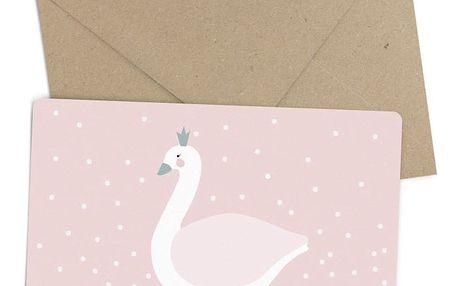EEF lillemor Přání s obálkou Swan, růžová barva, papír