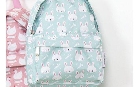 A Little Lovely Company Dětský batůžek Rabbits, modrá barva, zelená barva, textil