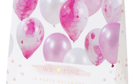 Talking Tables Nafukovací balónky Pink Marble - 12 ks, růžová barva, bílá barva, plast