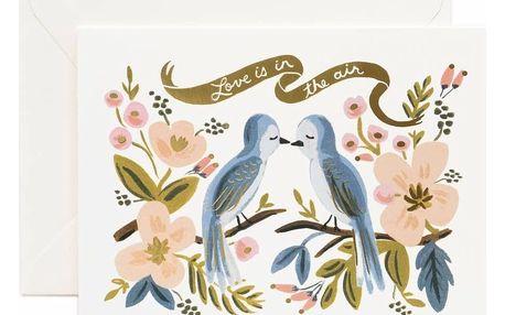 Rifle Paper Co. Přání s obálkou Love Is In The Air, růžová barva, modrá barva, zlatá barva, papír