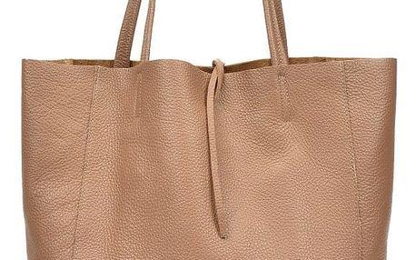 Hnědá kožená kabelka do ruky i na rameno Anna Luchini Luciana