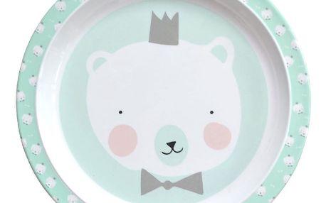EEF lillemor Dětský melaminový talířek Mint Polar Bear, zelená barva, melamin