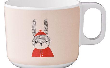 Bloomingville Dětský melaminový hrníček Sophia Rabbit, oranžová barva, bílá barva, melamin