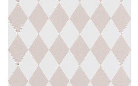 ferm LIVING Papírová tapeta Harlequin Rose, růžová barva, bílá barva, papír