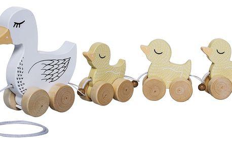 Bloomingville Tahací kačenky pro děti, žlutá barva, bílá barva, dřevo