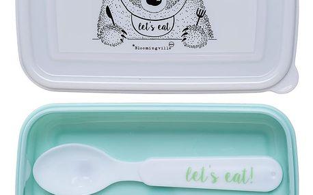 Bloomingville Mini krabička na svačinu Let's eat Mint, zelená barva, plast