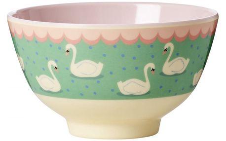 rice Melaminová miska Swan, zelená barva, melamin