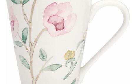 GREEN GATE Porcelánový hrneček Alina white 300ml, růžová barva, zelená barva, bílá barva, porcelán