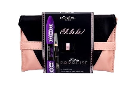 L´Oréal Paris False Lash Superstar X-Fiber dárková kazeta pro ženy řasenka STEP 1 7,1 ml STEP 2 6,9 ml + tužka na oči Le Khol 1 g 101 Midnight Black + psaníčko