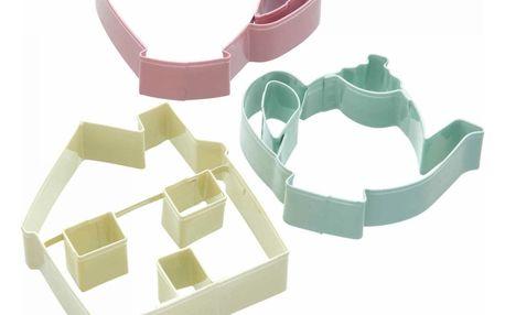 Kitchen Craft Barevná vykrajovátka Tea party - 3 ks, růžová barva, zelená barva, žlutá barva, multi barva, kov