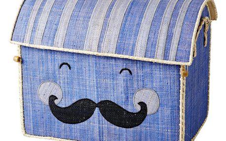 rice Dětský úložný box Smiling Moustache, modrá barva, papír