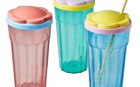 rice Plastová sklenice s víčkem Flower Zelená, růžová barva, modrá barva, zelená barva, plast