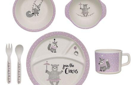 Bloomingville Sada dětského nádobí z bambusu Circus Purple, fialová barva