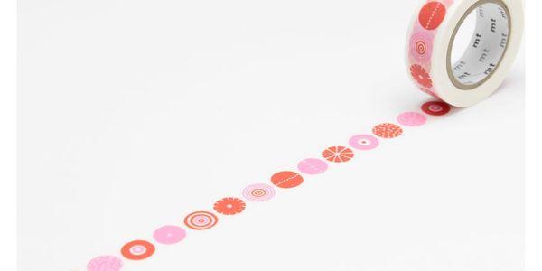 mt Designová samolepicí páska Candy, červená barva, růžová barva, papír
