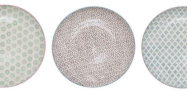 Bloomingville Obědový talíř Patrizia Zelený vzor, fialová barva, modrá barva, zelená barva, keramika