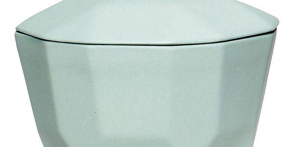 Hübsch Keramická dózička Green, modrá barva, zelená barva, keramika