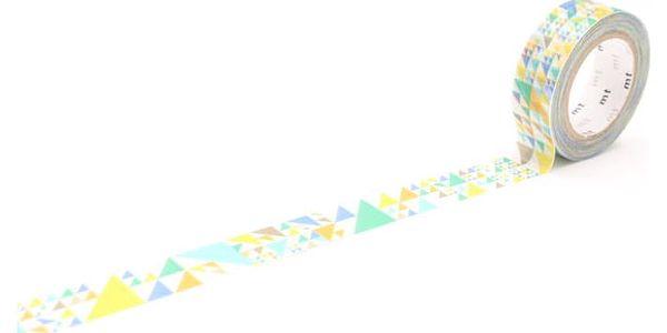 mt Designová samolepicí páska Sankaku blue, modrá barva, žlutá barva, papír