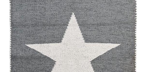 Bloomingville Venkovní koberec z umělé hmoty Grey Star, šedá barva, bílá barva, plast
