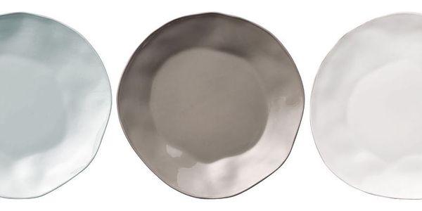 Bloomingville Servírovací talíř Simone 27cm Bílá, modrá barva, šedá barva, bílá barva, porcelán, keramika